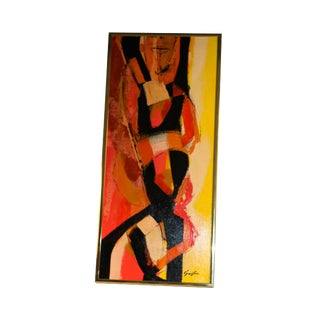 "Mid Century Abstract Expressionist Oil Painting Signed ""Griffin"""