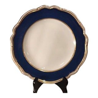 Set of 6 Copeland Spode Porcelain Plates W Blue Lapis Border R7287 For Sale