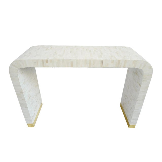 White White Inlay Waterfall Console For Sale - Image 8 of 8