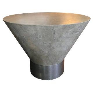 80s Modern Designer Faux Plaster and Brushed Metal Side Table For Sale