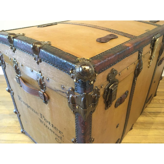 Canvas Early 1900s Canvas Travel Trunk For Sale - Image 7 of 13