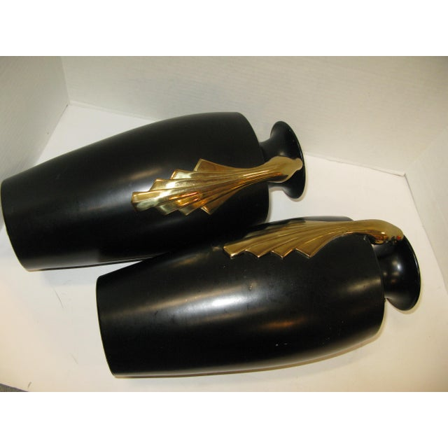 Black & Brass Art Deco Metal Vases - A Pair - Image 4 of 11
