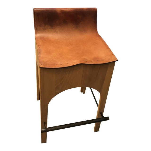 Lostine Wood & Leather Bar Stool For Sale