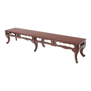 Long Six-Legged Blood Cherry Lacquer Finish Display Bench For Sale