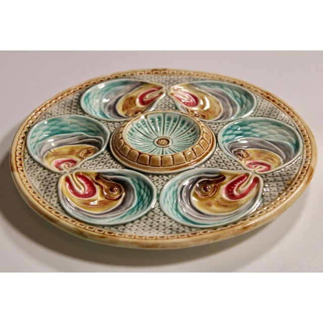 Majolica Fish Heads Oyster Plate by Onnaing, 1800s For Sale - Image 11 of 13