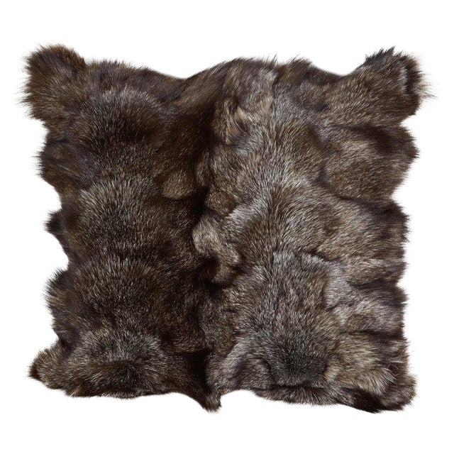 Genuine Fox Fur Luxury Throw Pillows in Variant Hues of Gray For Sale