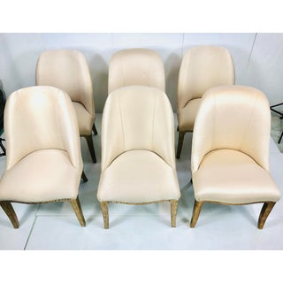 Contemporary Champagne Cream Upholstered Dining Chairs - Set of 3 Preview