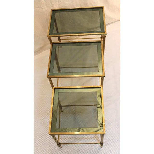 1950's Modern Italian Brass Nesting Tables - Pair For Sale - Image 4 of 10