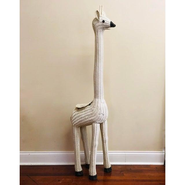 "Vintage MCM Large White Wicker Giraffe Planter. 61""tall."