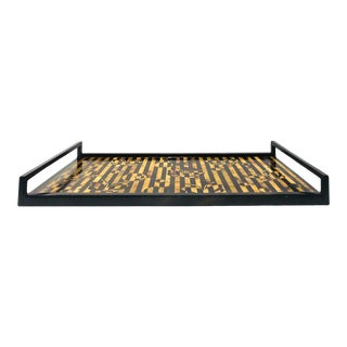 R&y Augousti Vintage Mosaic Tray in Black and Tortoise Pen-Shell, Circa 2000 For Sale