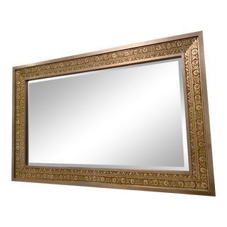 Large Silver and Bronze Detailed Wall Mirror For Sale