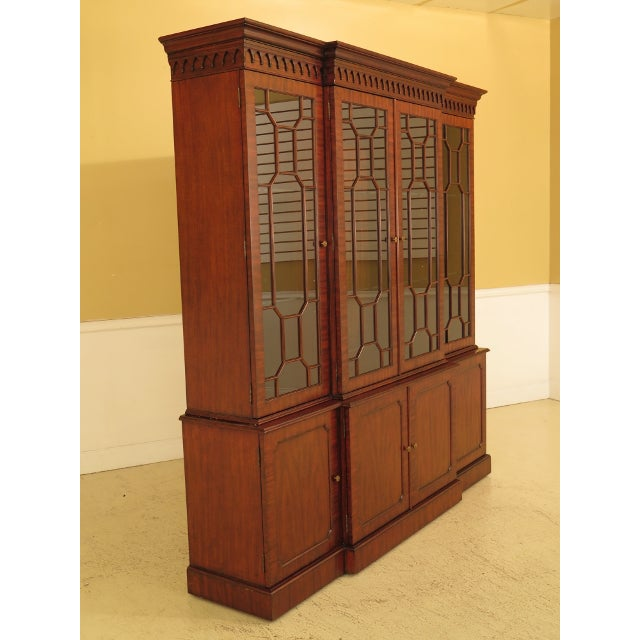 Maitland Smith Large Mahogany Breakfront Bookcase Cabinet For Sale - Image 10 of 13