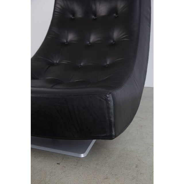 Black Large Modern Tufted Black Leather Swivel Scoop Lounge Chairs, Pair, Circa 1980 For Sale - Image 8 of 11