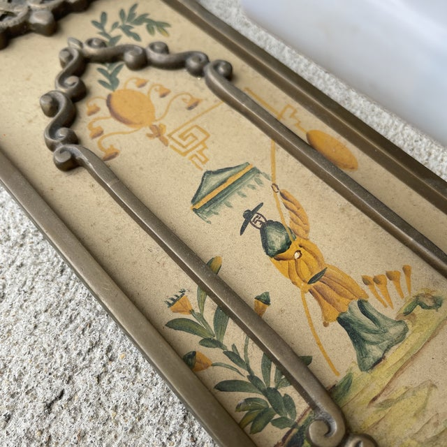 Brass Hand Painted Brass Chinoiserie Lightes Scones - a Pair For Sale - Image 8 of 13
