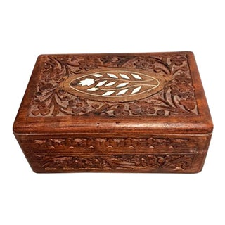 1960s Indian Sheesham Inlaid Carved Wood Box For Sale