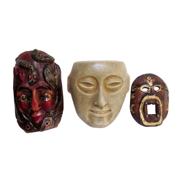 Decorative Carved Masks & Buddha Statue - Set of 3 - Image 1 of 8