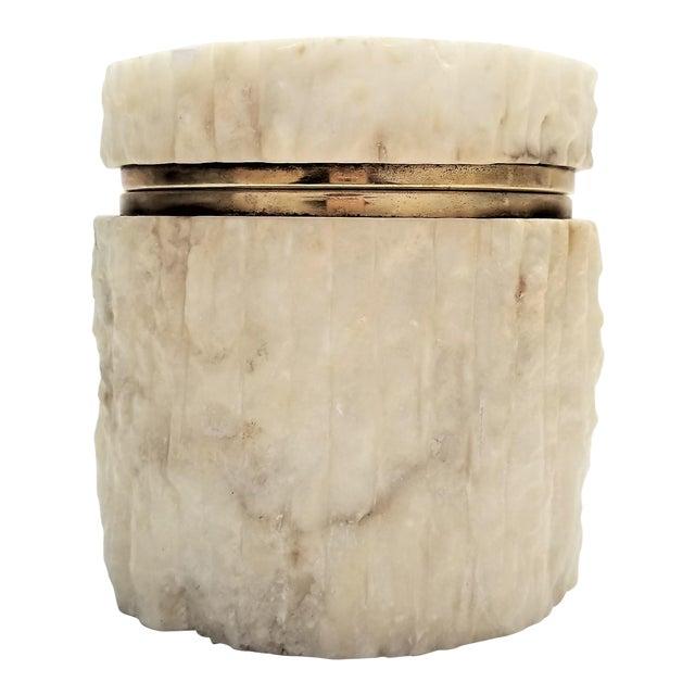 Rare Heavy Vintage Italian Alabaster Marble Jewelry Box - Italy Mid Century Modern Palm Beach Boho Chic For Sale