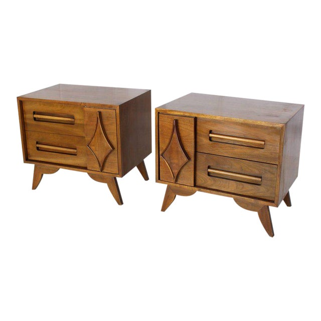 Pair of Large Walnut Nightstands End Tables with Small Bookcase For Sale