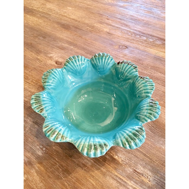 Italian Majolica Turquoise Shell Motif Bowl - Image 2 of 5