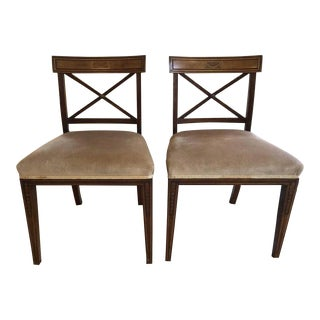 20th Century Edwardian Inlaid Mahogany Side Chairs - a Pair For Sale