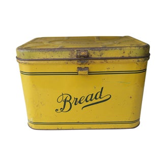 Antique Empeco Yellow Metal Bread Box Kitchen Decor For Sale