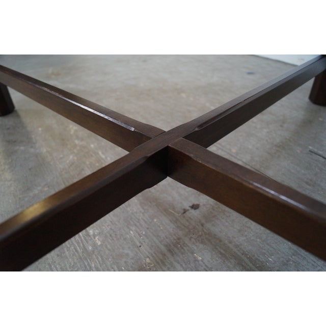 Chippendale Style Cherry Glass Top Coffee Table - Image 9 of 10