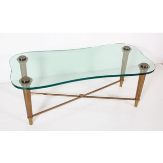 1950's French Solid Brass Hollywood Regency Biomorphic Glass Coffee Table Preview
