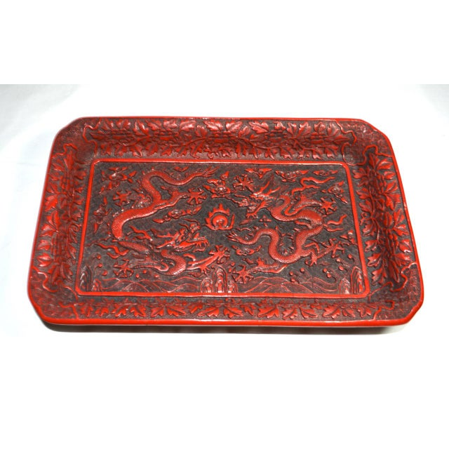 Red 1970s Asian Red Lacquer Cinnabar Tray W/ Carved Dragons For Sale - Image 8 of 8