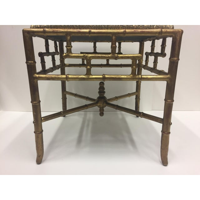 1960s 1960s Vintage Gilt Iron Faux Bamboo Ottoman Bench For Sale - Image 5 of 10