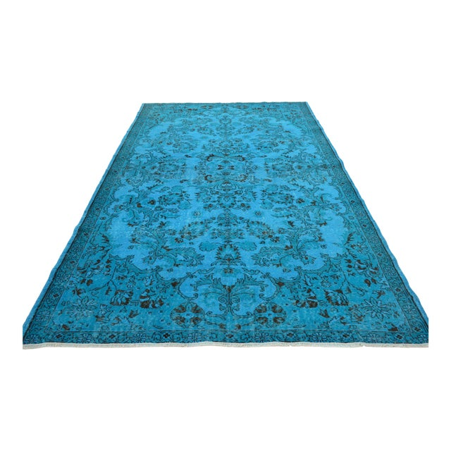 """Cyan Blue Overdyed Turkish Hand Knotted Rug - 6'5"""" X 10' For Sale"""