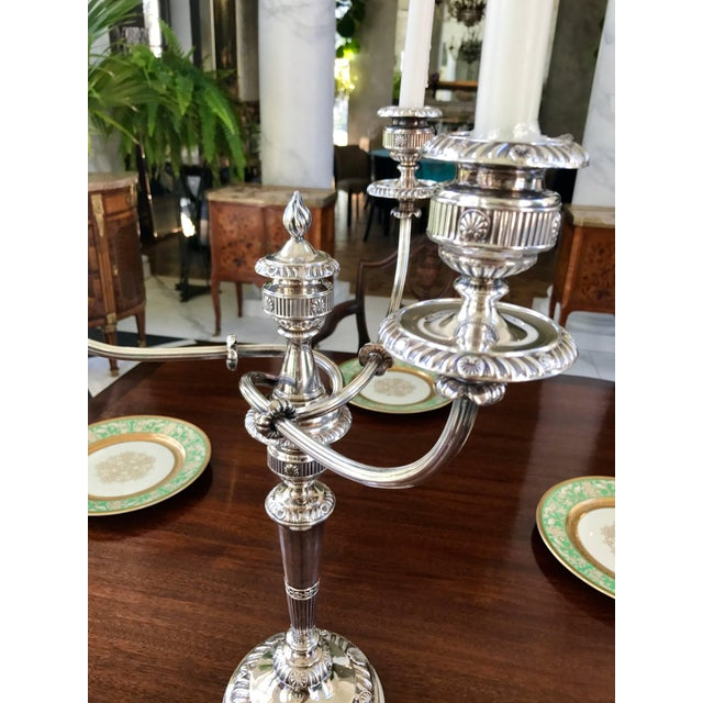 Early 19th Century Pair of Silver Candelabra George III Period For Sale - Image 5 of 8