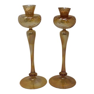 Contemporary Murano Candle Holders by Ballarin - a Pair For Sale