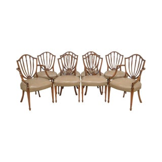 Hepplewhite Style Vintage Set of 8 Custom Mahogany Shield Back Dining Chairs For Sale