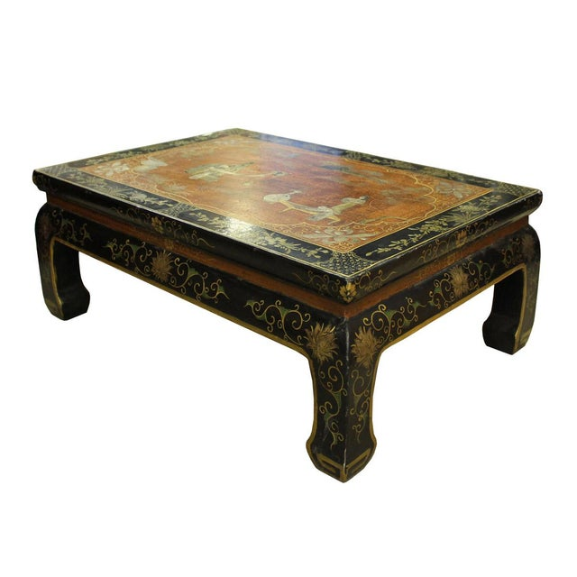 Chinese Brown Black Lacquer Scenery Kang Table Stand For Sale - Image 5 of 7
