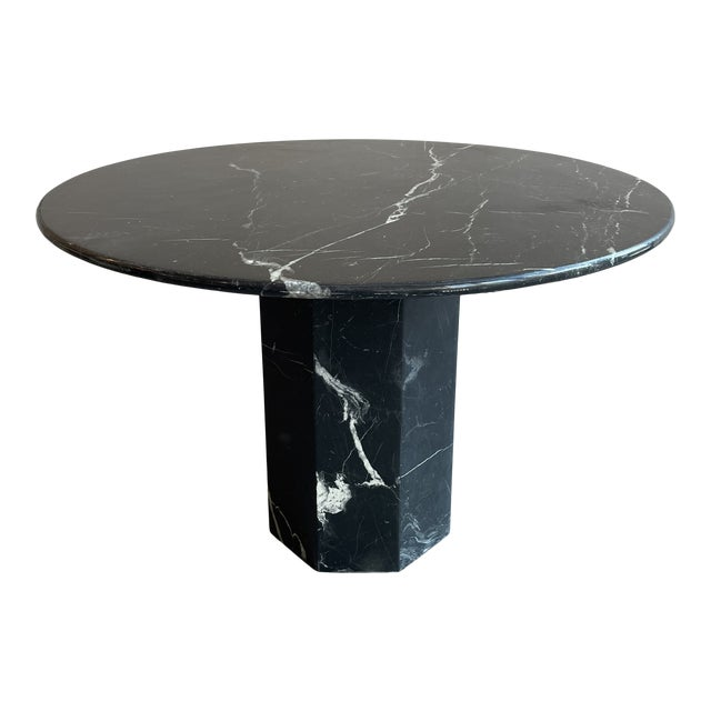 Postmodern Black Pedestal Marble Dining Table For Sale
