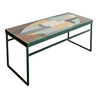 Glass Mosaic Tile Top Cocktail Table For Sale
