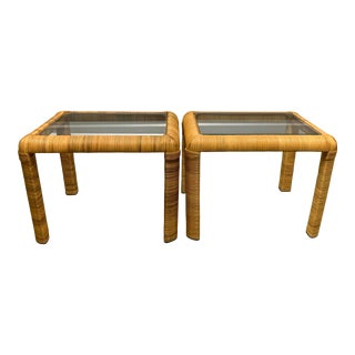 Pr Gabriella Crespi Style Wrapped Rattan Side Tables For Sale