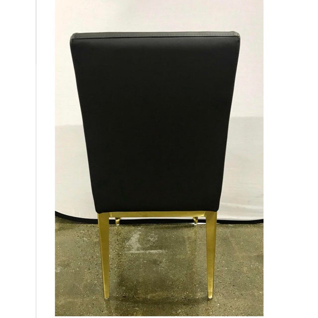 Round Glass and Brass Dining Table and Black Leather Chairs Set For Sale - Image 10 of 13