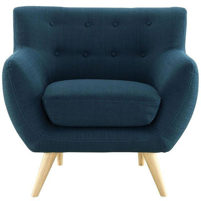 Mid-Century-Style Polyester Blue Armchair - Image 1 of 5