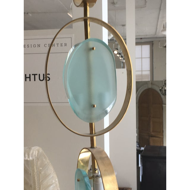 Mid-Century Modern Mid-Century Modern Green Glass and Brass Pendant Light For Sale - Image 3 of 5