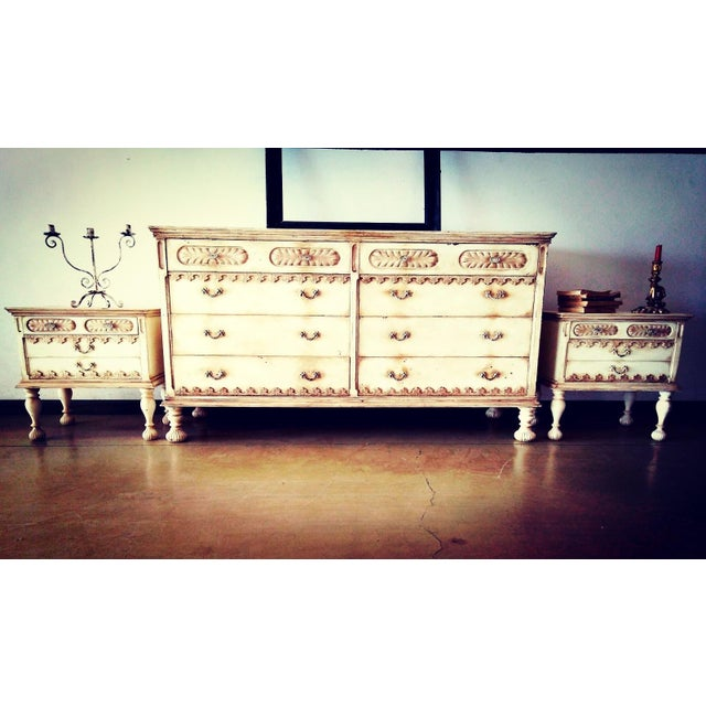 Beautiful set consisting of a large chest of drawers and two nightstands. Vintage period in lacquered wood with Provencal...