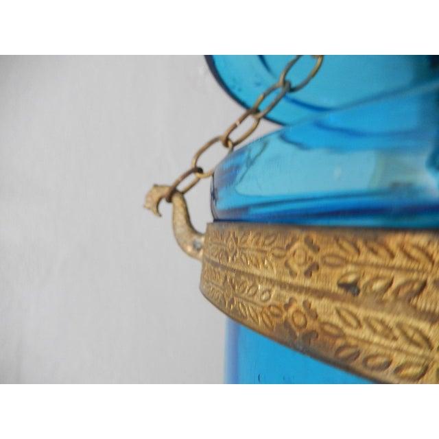 Metal 19th Century Cobalt Blue English Bell Jar Lantern Chandelier For Sale - Image 7 of 13