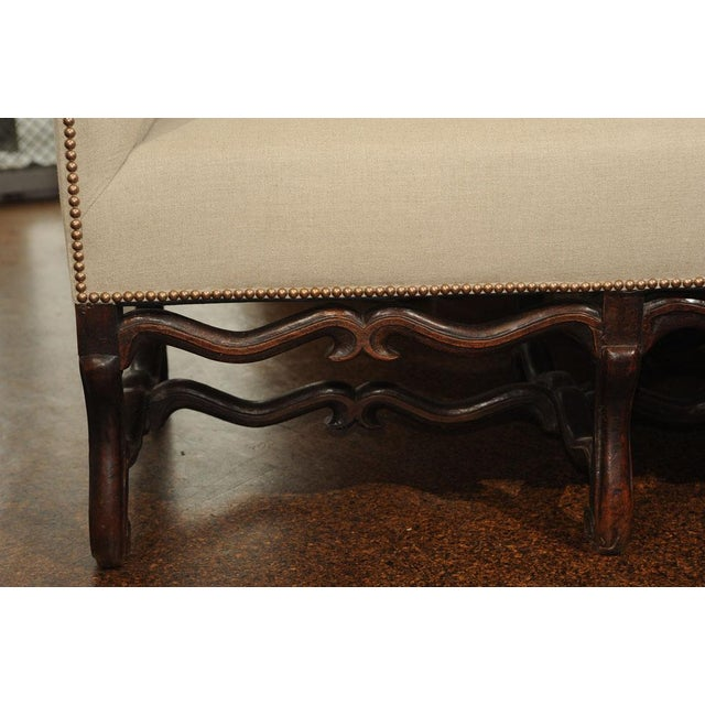 Linen High Back Sofa with Carved Walnut Base For Sale - Image 7 of 9