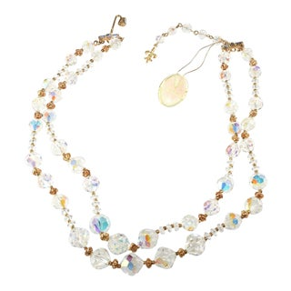 Vendome Necklace Two Strand Clear Crystal With Original Tag Vintage 1960s For Sale
