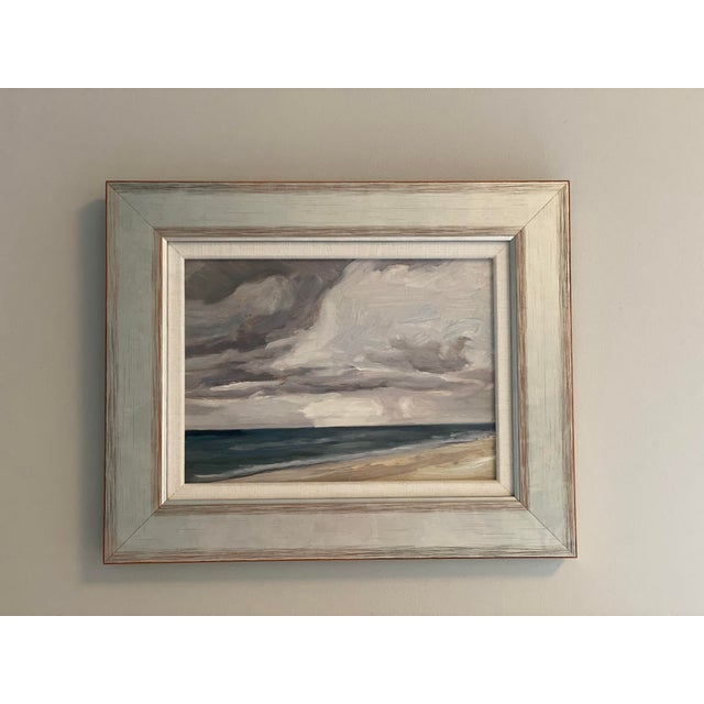 """Beautiful original seascape painting """"Passing Storm"""" by Coro Lizasoain, a Spanish-born artist residing in NYC. Painting is..."""