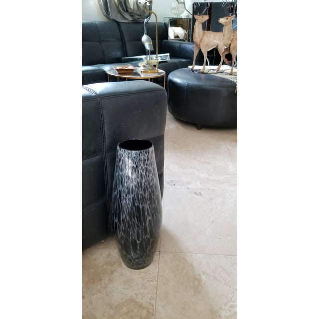 Final.Markdown Black Triple Box Stitch Leather Ralph Lauren Style Round Bench/Coffee Table For Sale - Image 9 of 11