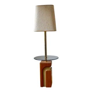 Mid-Century Sculptural Oak Base Table Floor Lamp For Sale