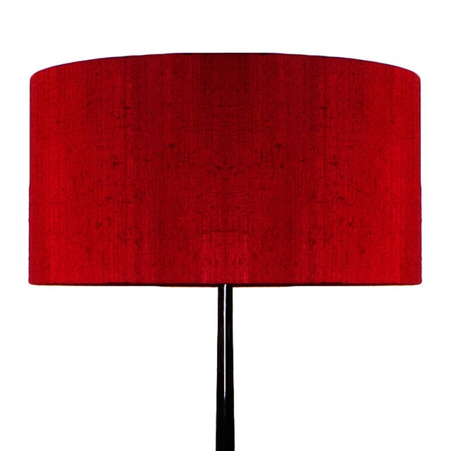 Mid-Century Modern 1940s Standing Lamp, 3 lights, stained walnut, polished brass, silk - Italy For Sale - Image 3 of 9