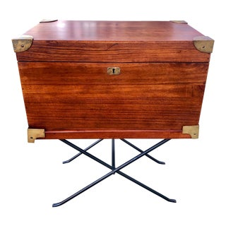 English Style Campaign Writing Box on Iron Stand For Sale