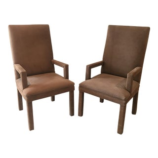 Suede Parsons Arm Chairs - a Pair For Sale